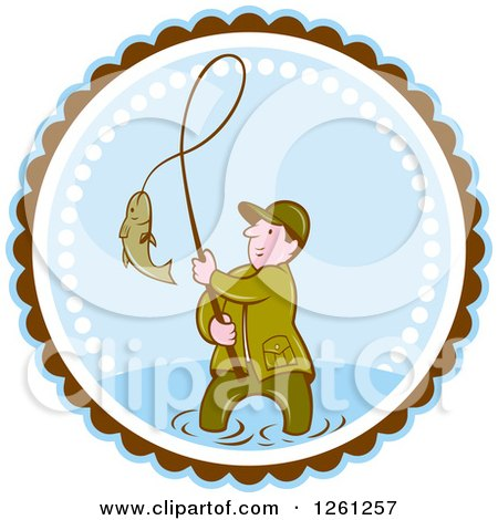Clipart of a Cartoon Wading Fisherman Reeling in a Fish in a Brown White and Blue Circle - Royalty Free Vector Illustration by patrimonio