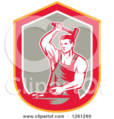 Clipart of a Retro Woodcut Blacksmith Hammering in a Yellow Red White and Taupe Shield - Royalty Free Vector Illustration by patrimonio