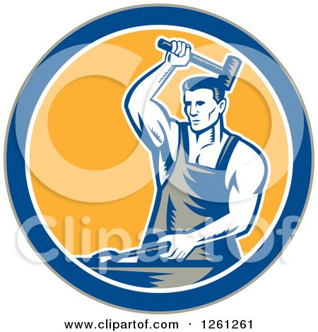 Clipart of a Retro Woodcut Blacksmith Hammering in a Gray Blue White and Yellow Circle - Royalty Free Vector Illustration by patrimonio