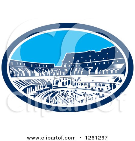 Clipart of a Woodcut Oval of the Flavian Amphitheatre Coliseum in Rome Italy - Royalty Free Vector Illustration by patrimonio