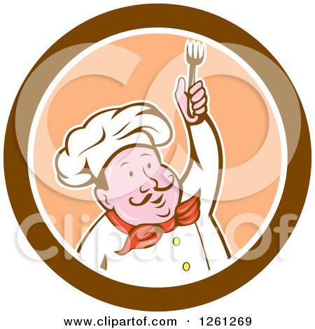 Clipart of a Cartoon Male Chef Holding up a Fork in a Brown Orange and White Circle - Royalty Free Vector Illustration by patrimonio