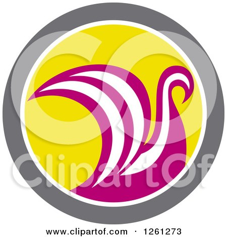 Clipart of a Pink and White Viking Ship or Swan in a Taupe White and Yellow Circle - Royalty Free Vector Illustration by patrimonio