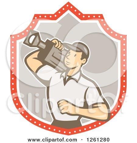 Clipart of a Retro Cartoon Cameraman Filming in a Shield - Royalty Free Vector Illustration by patrimonio