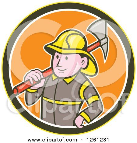 Clipart of a Cartoon Fireman with an Axe in a Yellow Brown White and Orange Circle - Royalty Free Vector Illustration by patrimonio