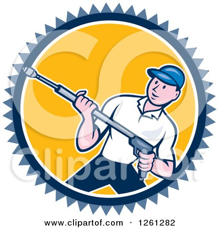 Clipart of a Cartoon Male Pressure Washer Worker in a Blue White and Yellow Circle - Royalty Free Vector Illustration by patrimonio