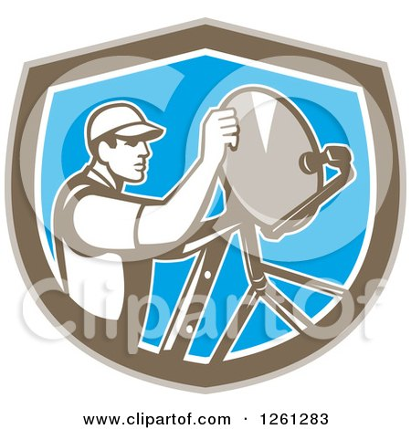 Clipart of a Retro Male Satellite Installer Adjusting a Dish in a Brown White and Blue Shield - Royalty Free Vector Illustration by patrimonio