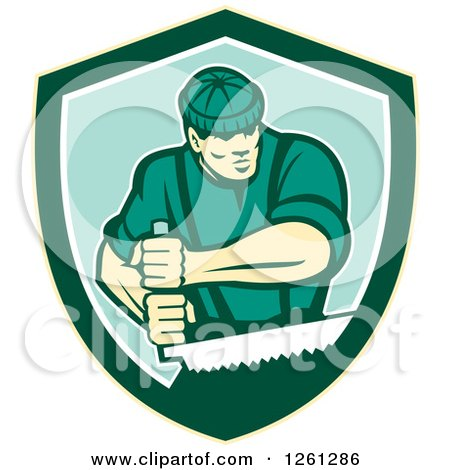 Clipart of a Retro Male Lumberjack Using a Crosscut Saw in a Shield - Royalty Free Vector Illustration by patrimonio