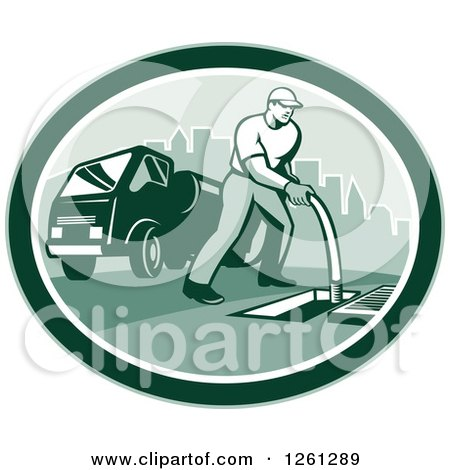 Clipart of a Retro Male Drain Cleaner Worker Man in a Green Oval - Royalty Free Vector Illustration by patrimonio