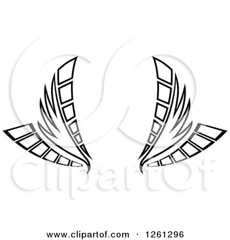 Clipart of a Black and White Wing Design - Royalty Free Vector Illustration by Chromaco