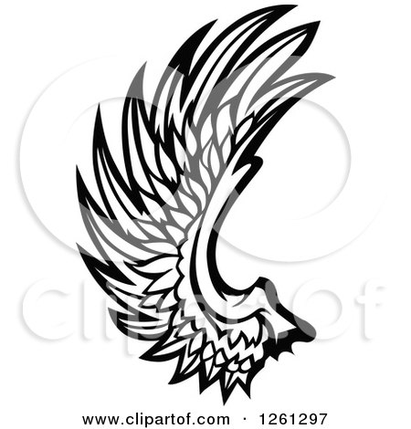 Clipart of a Black and White Feathered Wing - Royalty Free Vector Illustration by Chromaco