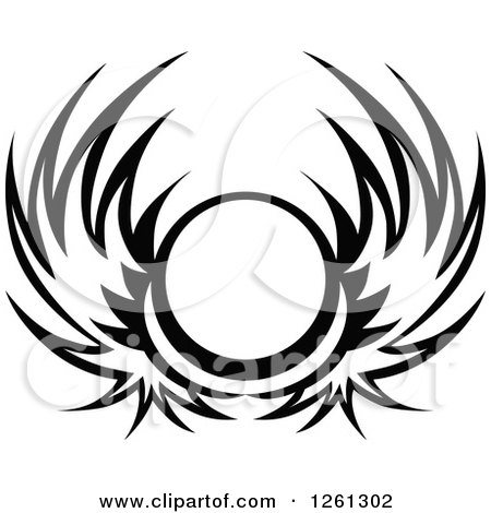 Clipart of a Black and White Wing Shield - Royalty Free Vector Illustration by Chromaco