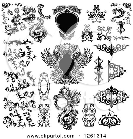 Clipart of Black and White Frames and Tribal Design Elements - Royalty Free Vector Illustration by Chromaco