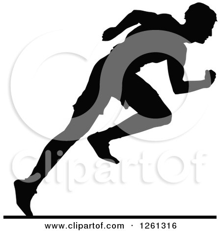 Clipart of a Black Silhouetted Male Athlete Sprinter - Royalty Free Vector Illustration by Chromaco