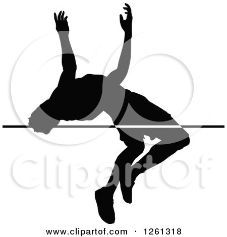 Clipart of a Black Silhouetted Male Athlete High Jumper - Royalty Free Vector Illustration by Chromaco