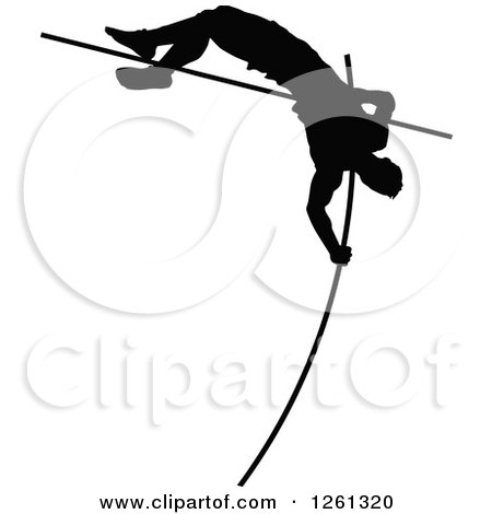 Clipart of a Black Silhouetted Male Athlete Pole Vaulter - Royalty Free Vector Illustration by Chromaco