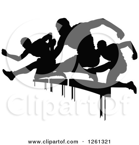 Clipart of Black Silhouetted Male Athlete Runners Leaping over Hurdles - Royalty Free Vector Illustration by Chromaco