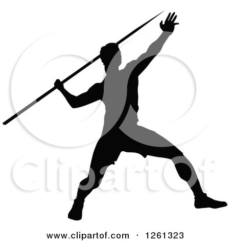 Clipart of a Black Silhouetted Male Athlete Javelin Thrower - Royalty Free Vector Illustration by Chromaco