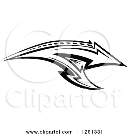 Clipart of a Black and White Tribal Arrow Design - Royalty Free Vector Illustration by Chromaco