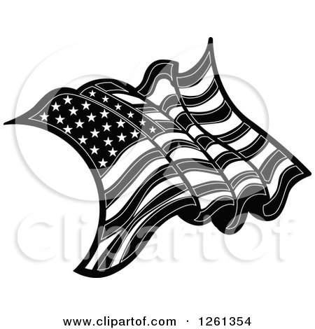 Clipart of a Black and White American Flag - Royalty Free Vector Illustration by Chromaco
