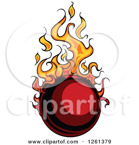Clipart of a Flaming Ball Design Element - Royalty Free Vector Illustration by Chromaco
