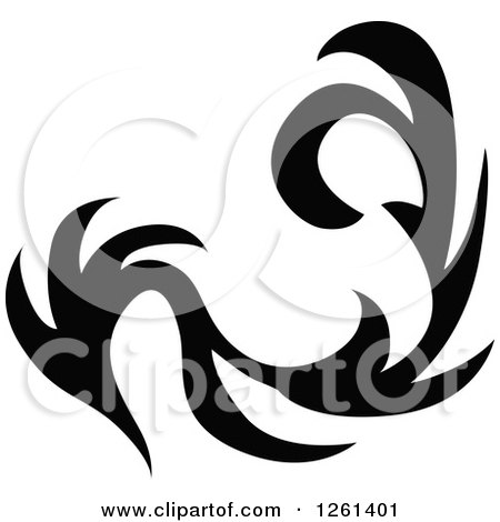 Clipart of a Black and White Tribal Design Element - Royalty Free Vector Illustration by Chromaco