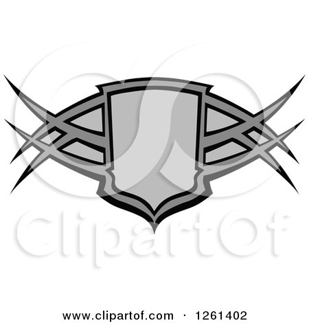 Clipart of a Grayscale Tribal Shield Badge - Royalty Free Vector Illustration by Chromaco