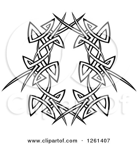 Clipart of a Black and White Tribal Frame Design Element - Royalty Free Vector Illustration by Chromaco