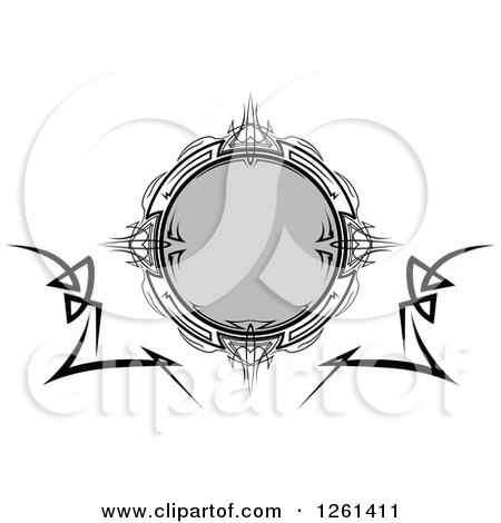 Clipart of a Grayscale Tribal Frame Design Element - Royalty Free Vector Illustration by Chromaco
