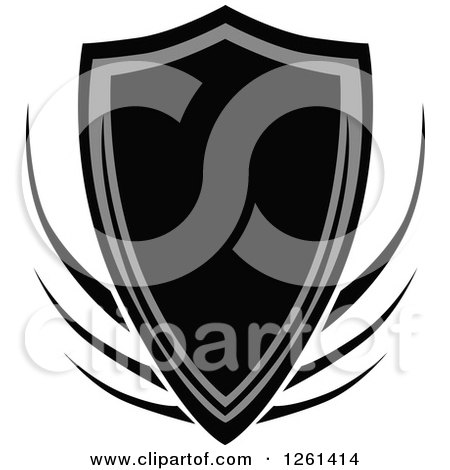 Clipart of a Grayscale Shield Badge - Royalty Free Vector Illustration by Chromaco