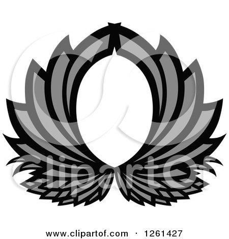 Clipart of a Grayscale Abstract Frame - Royalty Free Vector Illustration by Chromaco