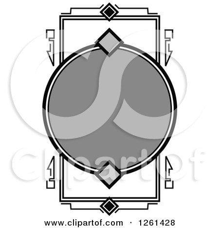 Clipart of a Grayscale Frame - Royalty Free Vector Illustration by Chromaco
