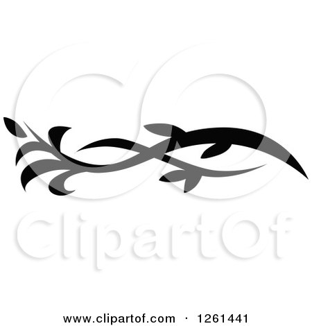 Clipart of a Black and White Floral Flourish Design Element - Royalty Free Vector Illustration by Chromaco