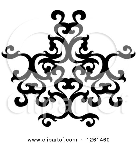 Clipart of a Black and White Ornate Swirl Design Element - Royalty Free Vector Illustration by Chromaco