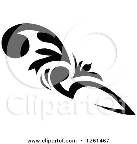 Clipart of a Black and White Corner Border Design Element - Royalty Free Vector Illustration by Chromaco