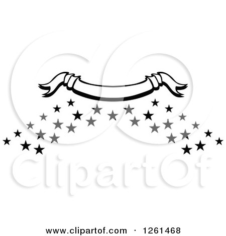 Clipart of a Black and White Curved Ribbon Banner over Stars - Royalty Free Vector Illustration by Chromaco