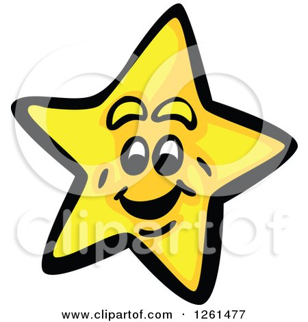 Clipart of a Happy Yellow Star - Royalty Free Vector Illustration by Chromaco