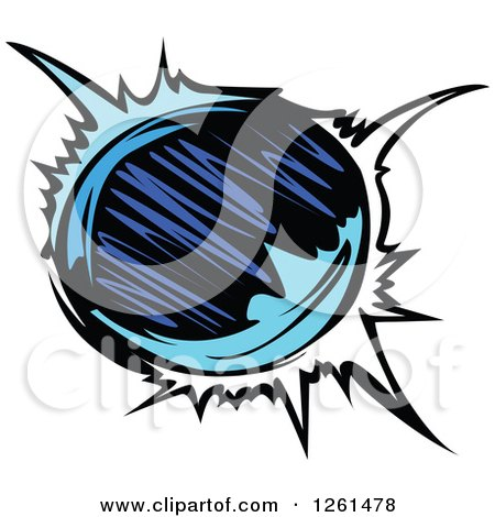 Clipart of a Blue Planet - Royalty Free Vector Illustration by Chromaco