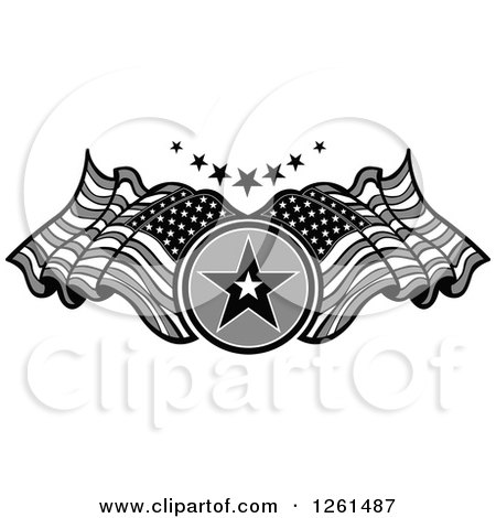 Clipart of a Grayscale Star and American Flag Design Element - Royalty Free Vector Illustration by Chromaco