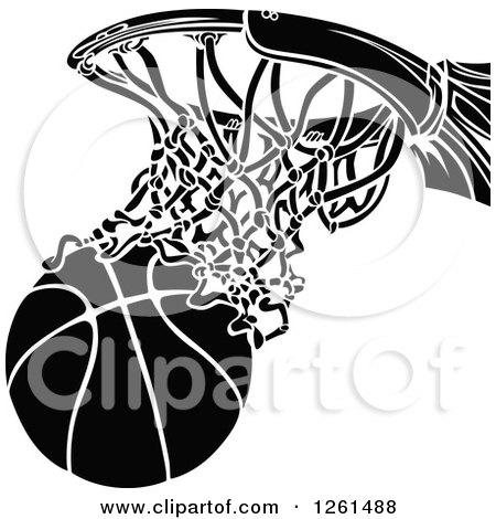 Clipart of a Black and White Basketball Going Through a ...