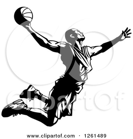 Clipart of a Black and White Basketball Player in Action - Royalty Free Vector Illustration by Chromaco