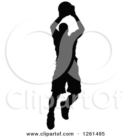 Clipart of a Black Silhouetted Basketball Player in Action - Royalty Free Vector Illustration by Chromaco