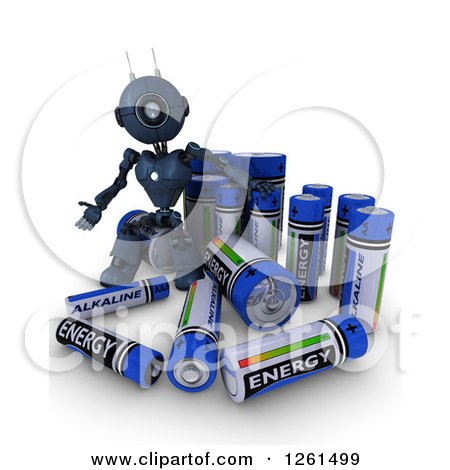 Clipart of a 3d Blue Android Robot With Batteries - Royalty Free Illustration by KJ Pargeter