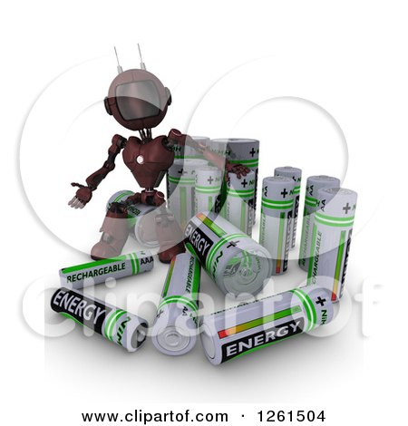 Clipart of a 3d Red Android Robot With Batteries - Royalty Free Illustration by KJ Pargeter