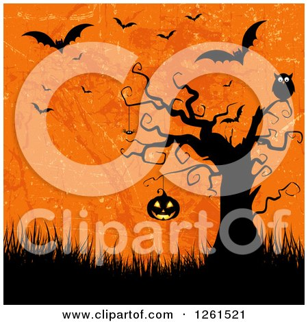 Clipart of a Spooky Tree with an Owl and Hanging Jackolantern Pumpkin over Grass Grungy Orange and Vampire Bats - Royalty Free Vector Illustration by KJ Pargeter