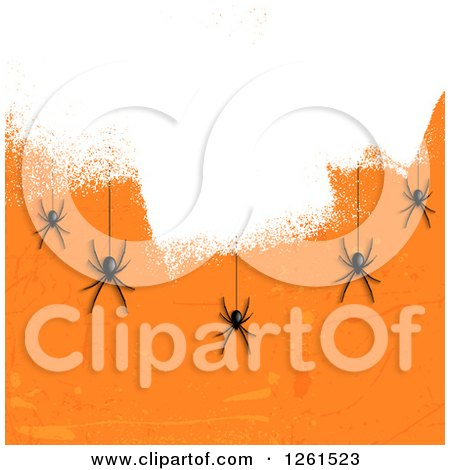 Clipart of a Halloween Background of Black Spiders Hanging over White Paint on Orange - Royalty Free Vector Illustration by KJ Pargeter