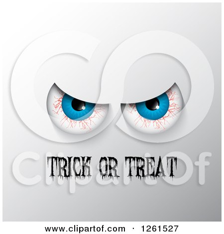 Clipart of Bloodshot Eyes over Trick or Treat Text on Gray - Royalty Free Vector Illustration by KJ Pargeter