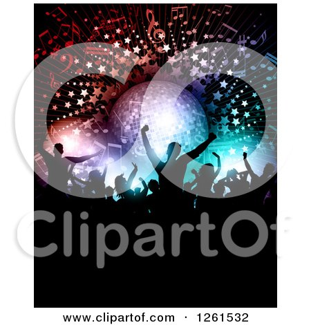 Clipart of Silhouetted Dancers Under a Disco Ball Music Notes Stars and Lights - Royalty Free Vector Illustration by KJ Pargeter