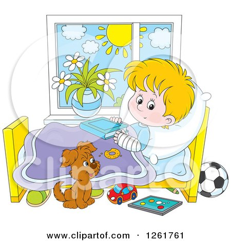 Clipart of a Puppy by a Caucasian Boy Recovering from a Broken Arm in Bed - Royalty Free Vector Illustration by Alex Bannykh