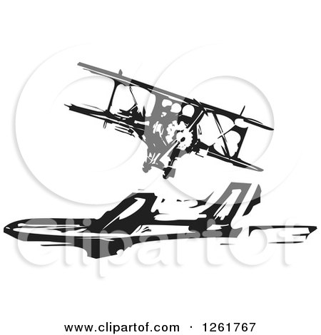 Clipart of a Black and White Woodcut Biplane and Commercial Airliner - Royalty Free Vector Illustration by xunantunich