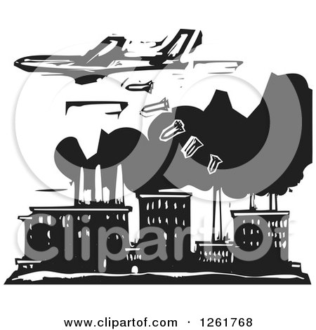 Clipart Of A Black And White Woodcut Plane Bombing A Factory Royalty Free Vector Illustration